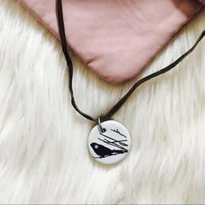 Jewelry - White Bird Stone Necklace with Brown Leather