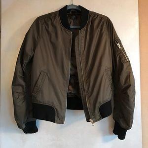 Topshop Bomber Jacket in Olive w- blk trim
