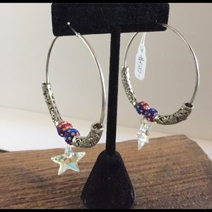 Jewelry - 4th of July silver earrings