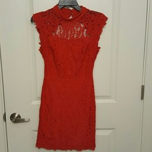Sexy red lace dress