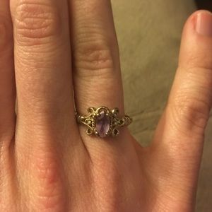 Gold plated silver amethyst ring