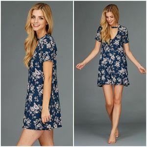 Open Neck Choker Print Dress •Sale•