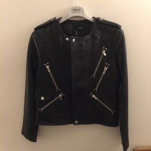 The Kooples Jackets & Blazers - The Kooples Black Leather Front-zip Jacket. Size S