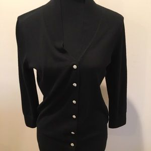 Black sweater with rhinestone buttons by Talbots