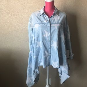 One Teaspoon Ombre Chambray Delinquent Star Shirt