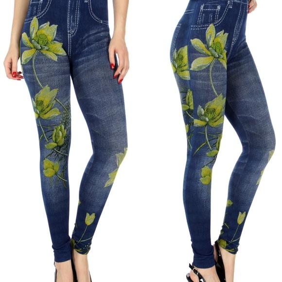 LAST TWO!! Lotus Denim Print Leggings 🌼🌼💐 from Brigitte's ...