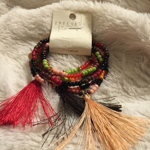 Influence Stretch Bracelet  multi-color&  Tassels