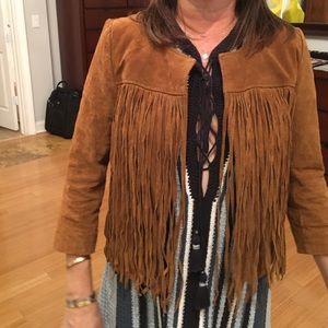 Real suede fringe jacket