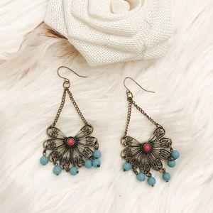 Jewelry - Dangle Earrings - Blue Turquoise Bronze Butterfly