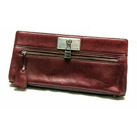 BCBG Bags   New Bordeaux Luster Calf Clutch   Poshmark 1c1ba871e1