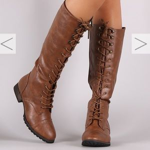 Breckelles High Lace Up Boots