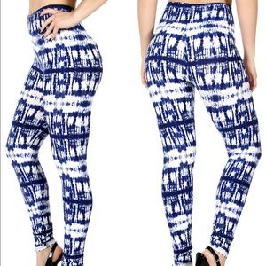 Pants - Plus Size Blue/White Tyedye Legging