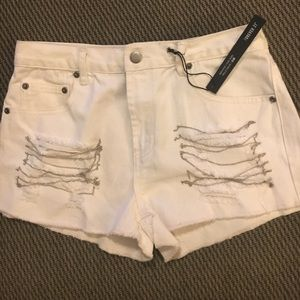 Forever 21 Pants - White Distressed High Rise Jean Shorts