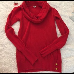 J. Crew Sweaters - J. Crew Red Wool Cowell Neck Sweater XS
