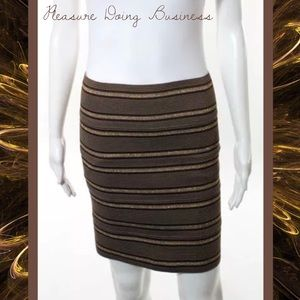Pleasure Doing Business Dresses & Skirts - PLEASURE DOING BUSINESS Brown/Gold Stripe Skirt