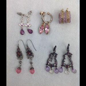 Jewelry - Bundle of Five Pink/Purple Earrings