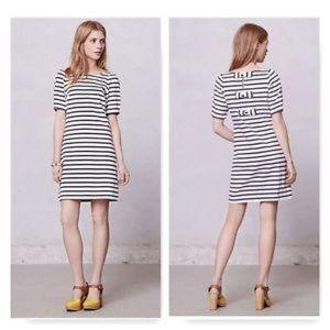 Anthropologie Postmark triple bow striped dress
