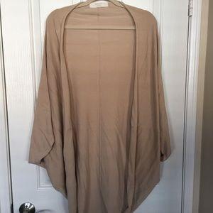 Zara Tan Knit Cocoon Open Cardigan