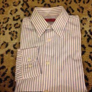 Hugo Boss Pink w/ Blue Stripe Shirt 15 32/33