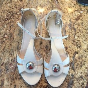 Coach Shoes - Coach White Patent Leather Kitten Heels!