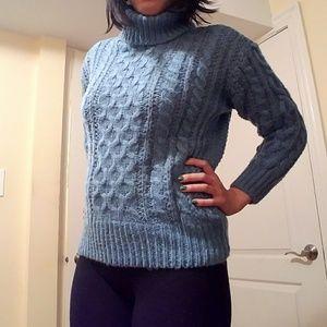 Sweaters - Blue knit turtleneck sweater