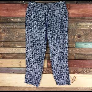 LOFT Pants - Loft Blue Flower Patterned Palazzo / Harem Pants