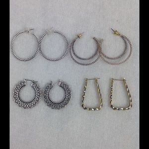Bundle of Four Silver and/or Gold Earrings