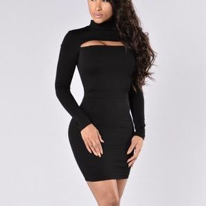 Black Long Sleeve Dress with Slit Top - REDUCED