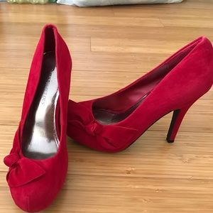 JustFab Shoes - JustFab Suede Red High Heels