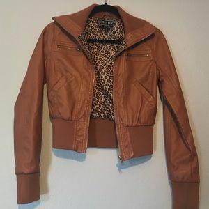 c'esttoi Jackets & Blazers - Camel pleather crop jacket