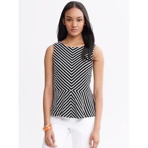 Banana Republic Tops - {Banana Republic} Chevron Stripe Ponte Peplum Top