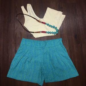 LOFT Shorts - Green and blue side zip fluid shorts