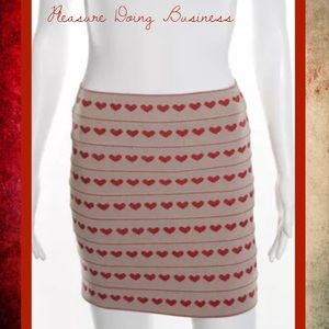 Pleasure Doing Business Dresses & Skirts - PLEASURE DOING BUSINESS Red/Beige Hearts Skirt