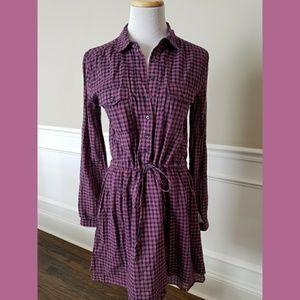 GAP Dresses & Skirts - Gap Pink and Navy Tie Waist Shirt Dress SZ XS