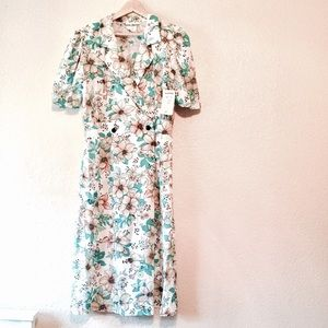 NWT vintage floral dress. Kenny Classics white 16