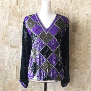 Vintage 1980's Silk and Sequin Top