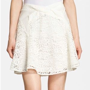The Kooples Dresses & Skirts - The Koobles White Lace & Lambskin Leather Skirt