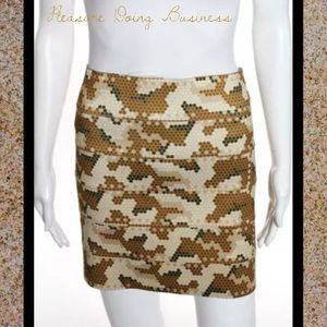 Pleasure Doing Business Dresses & Skirts - PLEASURE DOING BUSINESS Brown/Cream Banded Skirt