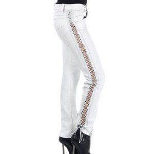 Diesel Black Gold Denim - DIESEL BLACK GOLD White Jeans with Leather Detail