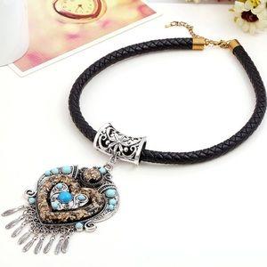 Beaded Bohemian Power Pendant Tassel Maxi Necklace