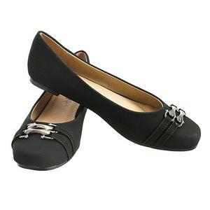Tory K  Shoes - Women Double Strap / Buckle Flats, b-1345, Black