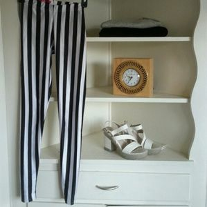 black milk Pants - Black Milk  circus striped black white leggings