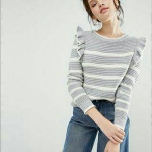 ASOS Sweaters - Romantic Ruffle shoulder sweater striped ASOS