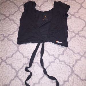 Zumba Fitness sexy gray tie up top size small