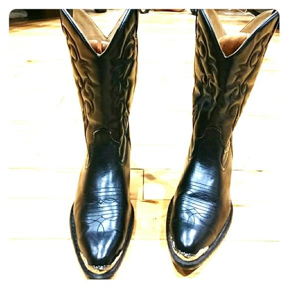 Non Slip Cowboy Boots Black Sz 6