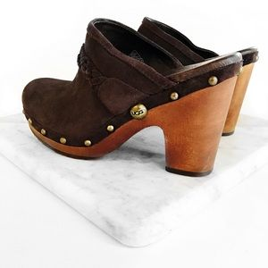 Ugg brown leather studded clogs