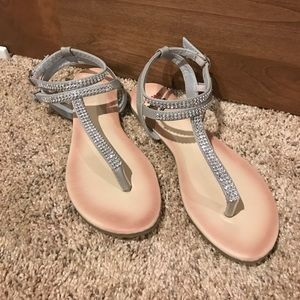 alpine swiss Shoes - Silver sandals with jewels.