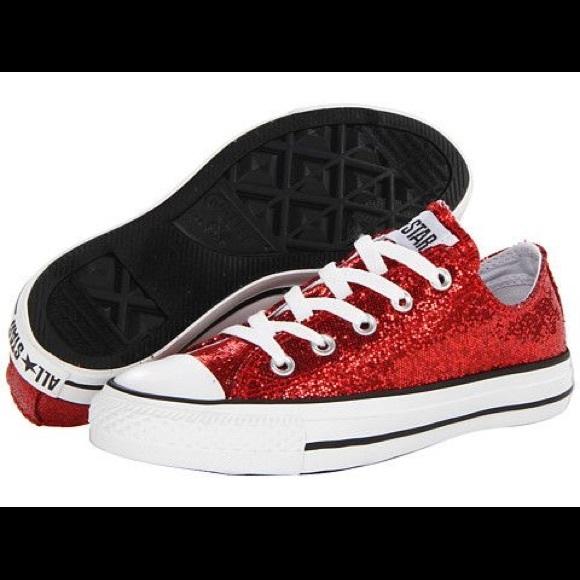 ✨NEW✨Red Glitter Converse Chuck Taylor All Stars 76f1d011e7