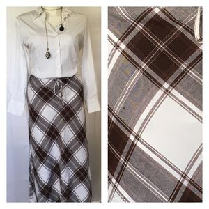 Ashley Stewart Dresses & Skirts - NWOT Brown & light cream plaid linen maxi skirt