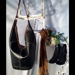 Lord & Taylor Handbags - Vintage black & tan Bucket Bag